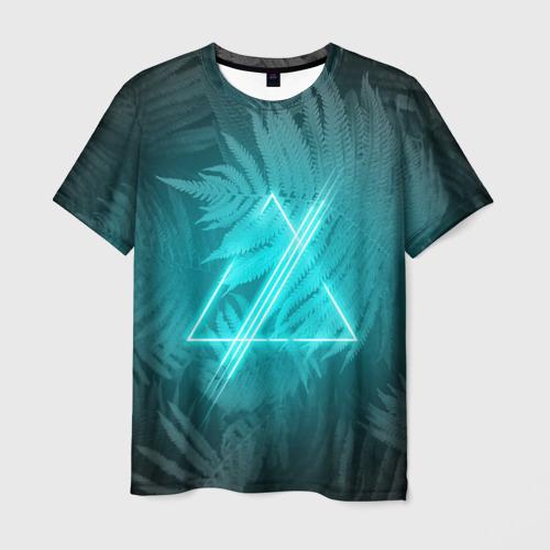 Мужская футболка 3D Neon light blue