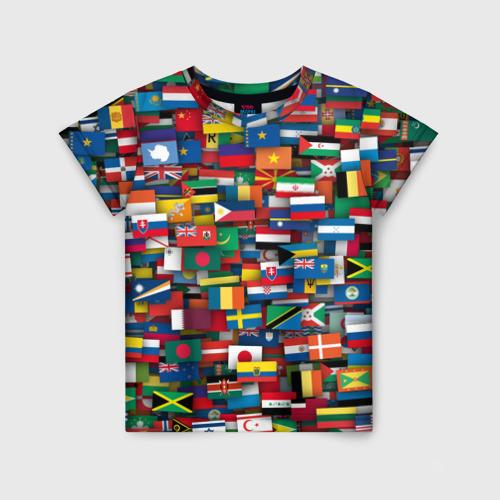 Детская футболка 3D Флаги всех стран