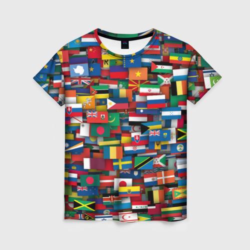 Женская футболка 3D Флаги всех стран