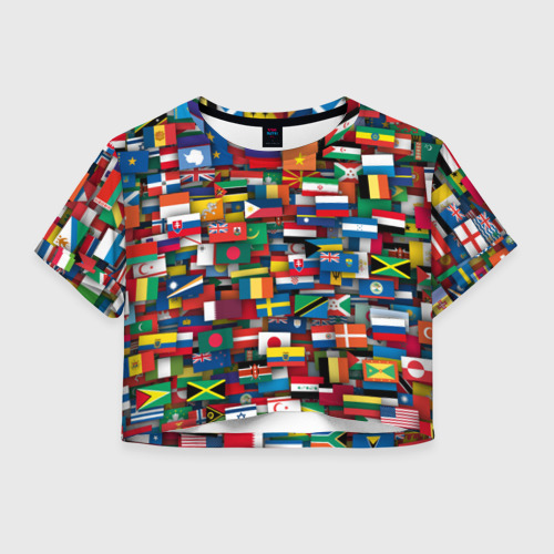 Женская футболка Crop-top 3D Флаги всех стран