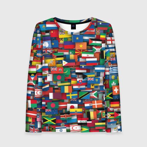 Женский лонгслив 3D Флаги всех стран