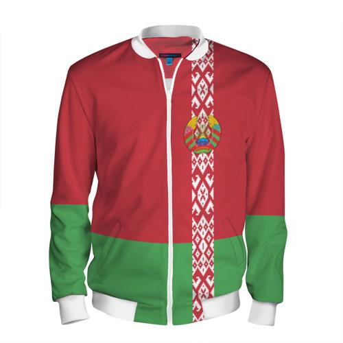 Мужской бомбер 3D Белоруссия, лента с гербом