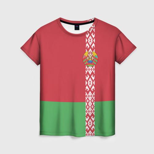 Женская футболка 3D Белоруссия, лента с гербом