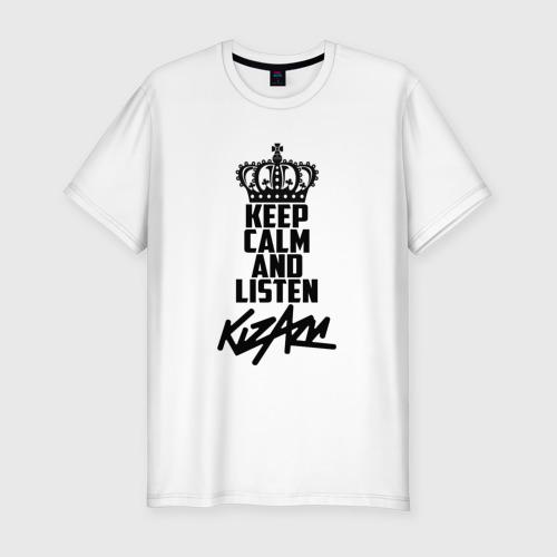 Мужская футболка хлопок Slim Keep calm and listen Kizaru