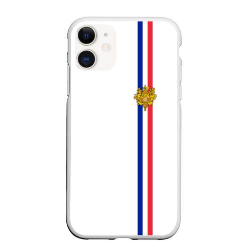 Чехол для iPhone 11 матовый Франция, лента с гербом