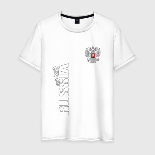 Мужская футболка хлопок Russia герб (двусторонняя)