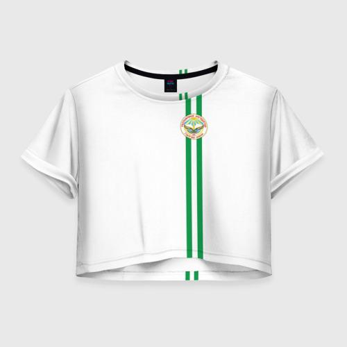 Женская футболка Crop-top 3D Ингушетия, лента с гербом