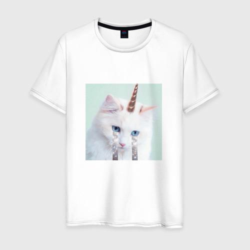 Мужская футболка хлопок котик единорог