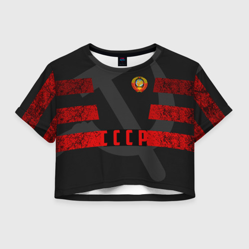 Женская футболка Crop-top 3D Символы СССР