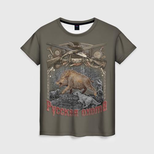Женская футболка 3D Русская охота