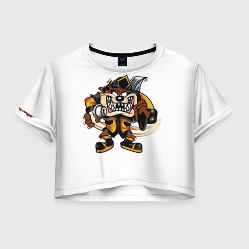 Женская футболка Crop-top 3D Пожарный демон