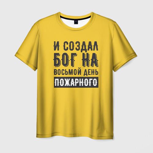Мужская футболка 3D Создал Бог пожарного