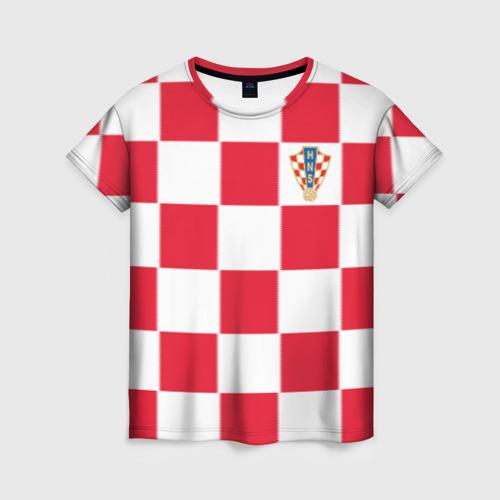 Женская футболка 3D Хорватия домашняя форма 2018