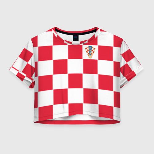 Женская футболка Crop-top 3D Хорватия домашняя форма 2018