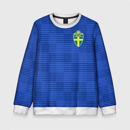 Детский свитшот 3D Швеция гостевая форма ЧМ 2018