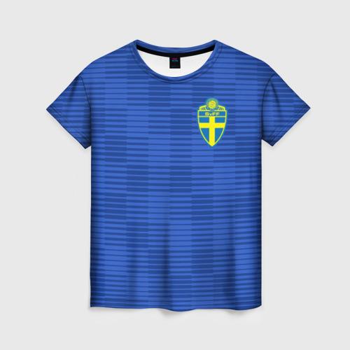 Женская футболка 3D Швеция гостевая форма ЧМ 2018