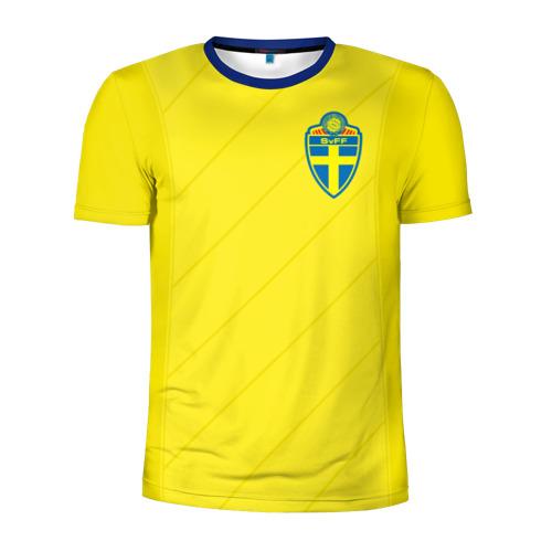 Мужская футболка 3D спортивная Швеция домашняя форма ЧМ 2018