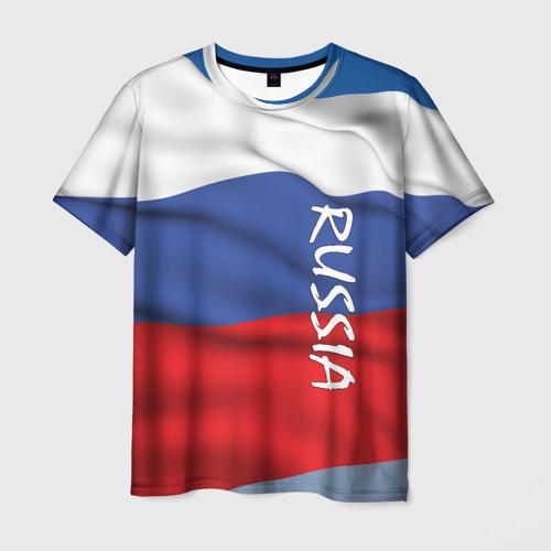 Мужская футболка 3D ФЛАГ РОССИИ.