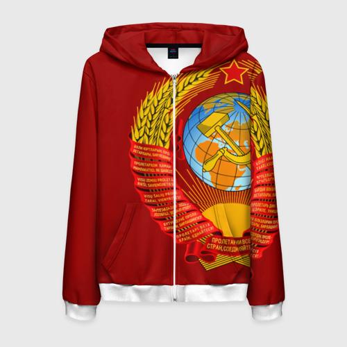 Мужская толстовка 3D на молнии Герб СССР