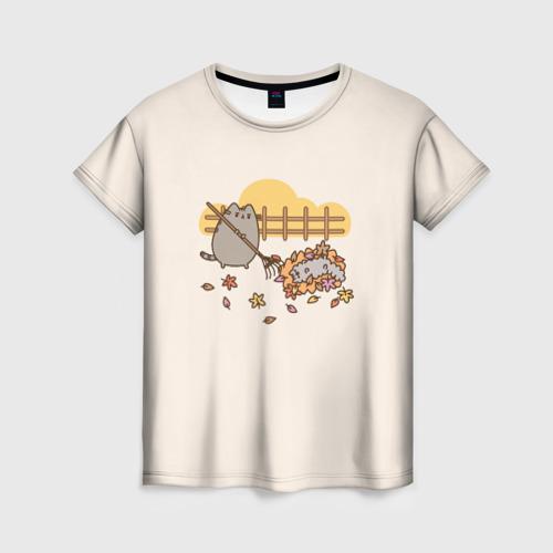 Женская футболка 3D Pusheen Осень
