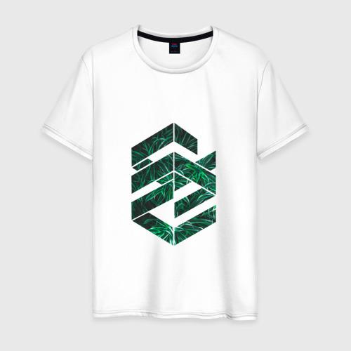 Мужская футболка хлопок Зелёная геометрия