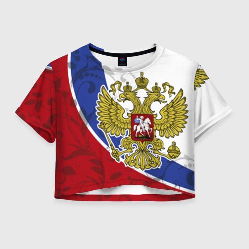 Женская футболка Crop-top 3D Россия Спорт