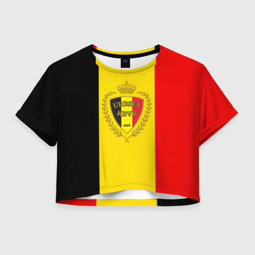 Женская футболка Crop-top 3D Сборная Бельгии флаг