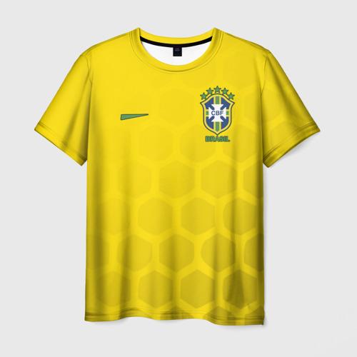 Мужская футболка 3D Сборная Бразилии узор соты