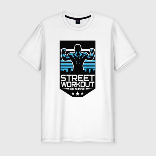 Мужская футболка хлопок Slim Street WorkOut, real men sport