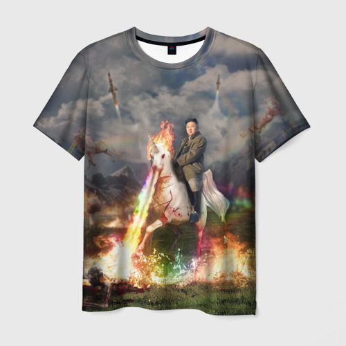 Мужская футболка 3D Ким чен ын на Единороге