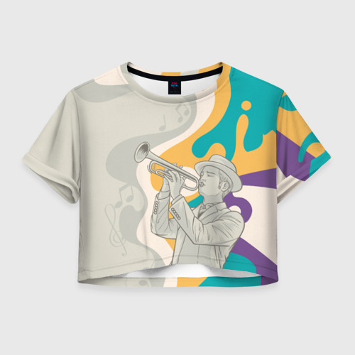 Женская футболка Crop-top 3D love saxophone