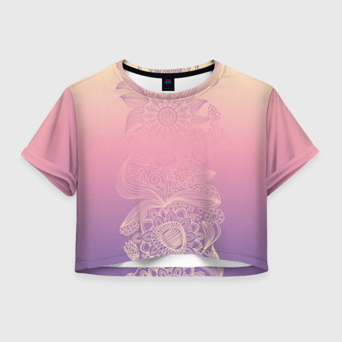 Женская футболка Crop-top 3D Кружево