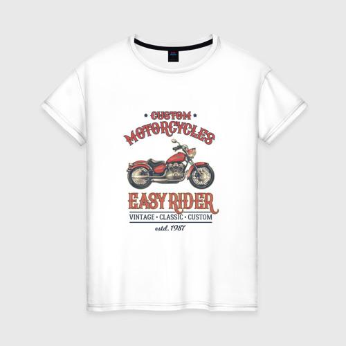 Женская футболка хлопок Мотоцикл