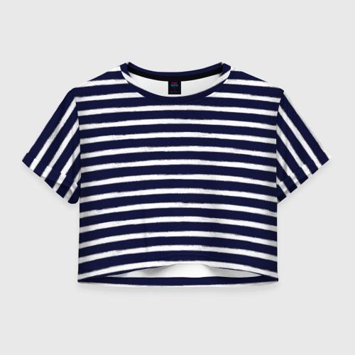 Женская футболка Crop-top 3D Тельняшка