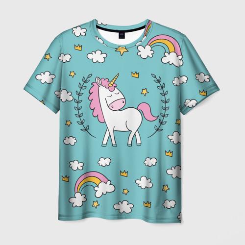 Мужская футболка 3D Единорог радуга