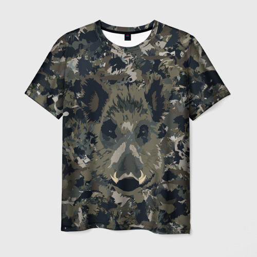 Мужская футболка 3D Камуфляж с кабаном