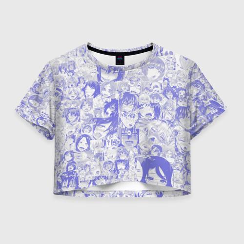 Женская футболка Crop-top 3D AHEGAO BLUE