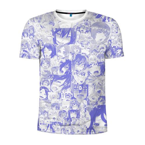 Мужская футболка 3D спортивная AHEGAO BLUE
