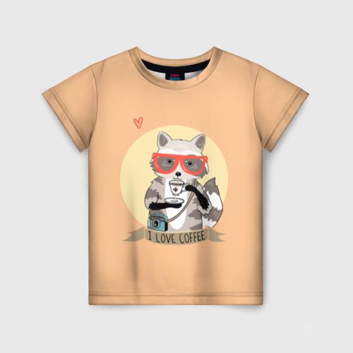 Детская футболка 3D Енот и кофе