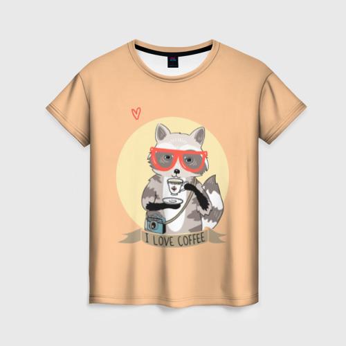 Женская футболка 3D Енот и кофе