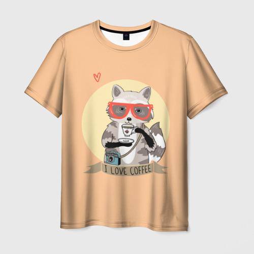 Мужская футболка 3D Енот и кофе