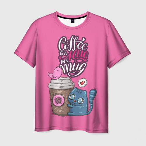 Мужская футболка 3D Coffee is a hug