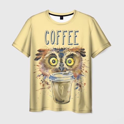 Мужская футболка 3D Сова и кофе