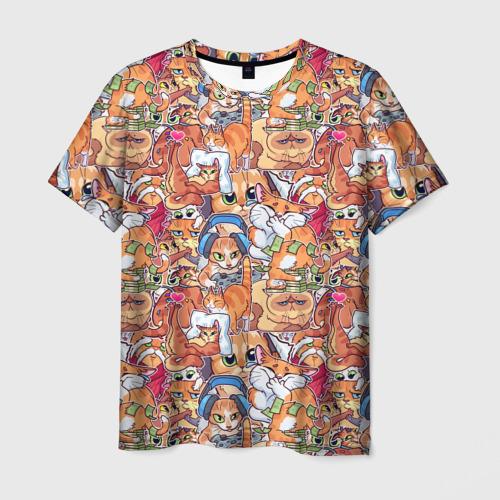 Мужская футболка 3D Котобомбинг