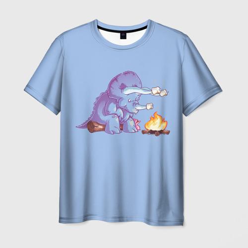Мужская футболка 3D Трицератопс у Костра
