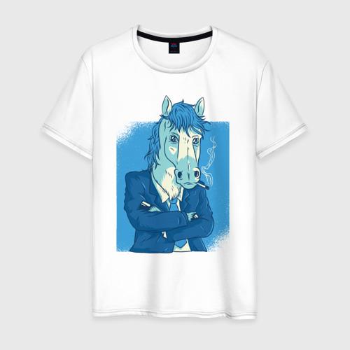 Мужская футболка хлопок Бизнесмен Лошадь