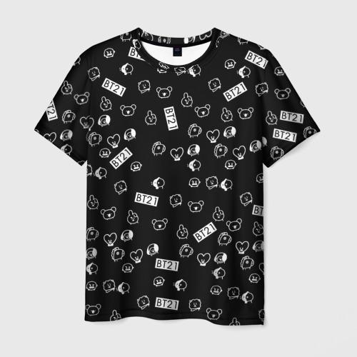 Мужская футболка 3D BTS BT21 STICKERS