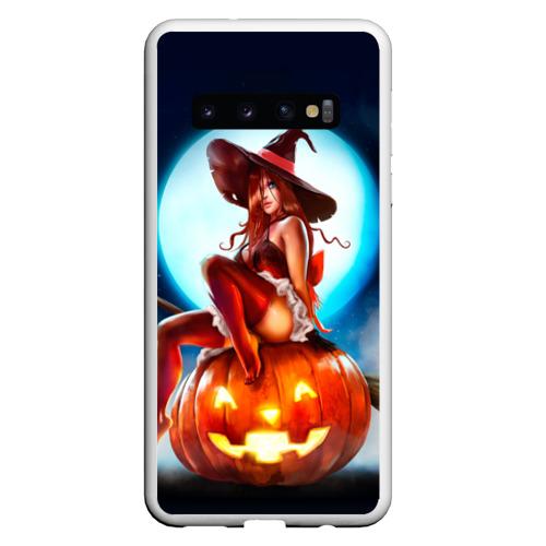 Чехол для Samsung Galaxy S10 Ведьма на тыкве