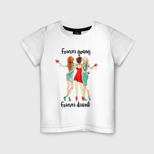 Детская футболка хлопок forever young forever drunk