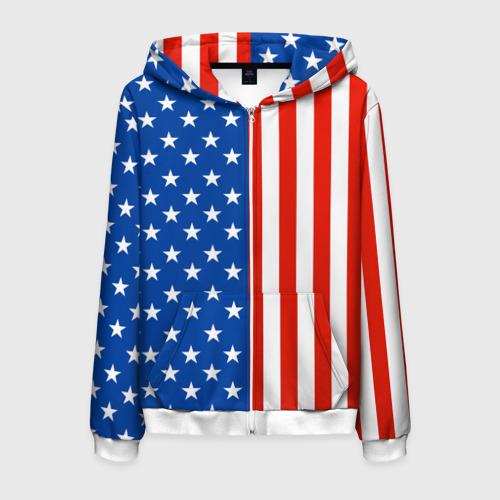 Мужская толстовка 3D на молнии Американский Флаг